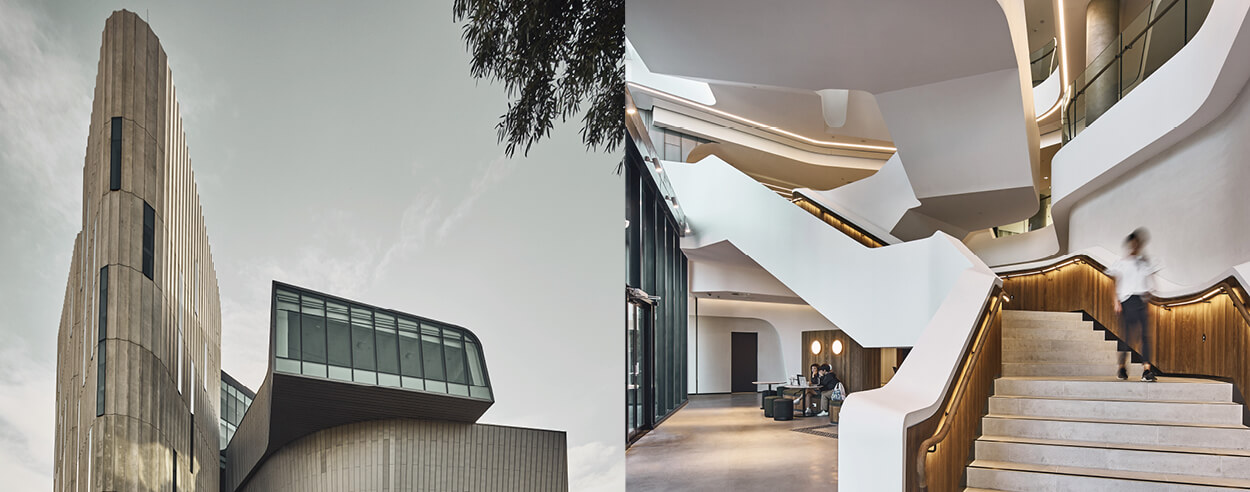 Woods Bagot's Deakin Law School boasts of coiled zinc-clad masses and fluted concrete
