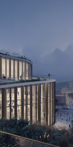 Henning Larsen's recent convention centre stands tall as a friendly gesture