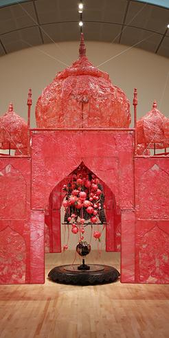 Rina Banerjee turns the Taj Mahal a soft red at the San José Museum of Art