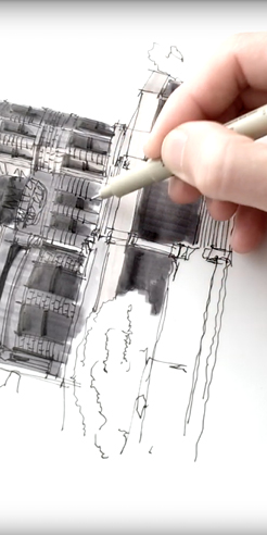 Sketching the Stimson House, LA - a drawing tutorial with Dan Hogman