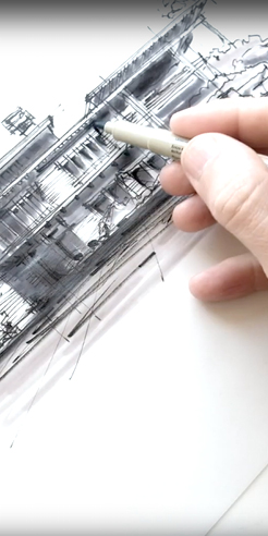Sketching the Gamble House, California - a drawing tutorial by Dan Hogman