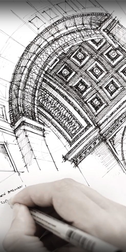 Sketching the Arc de Triomphe Paris - a drawing tutorial by Dan Hogman