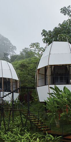 Exposed to nature, five egg-shaped luxury pods form Coco Villas in Costa Rica