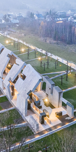 Mirosław Nizio honours lost Polish villages in this memorial space of cleaved concrete