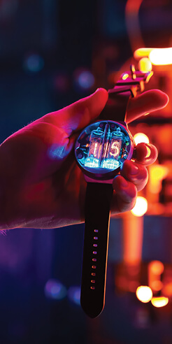 Nixoid Next brings back nixie tubes in style in a compact, neon-lit wristwatch