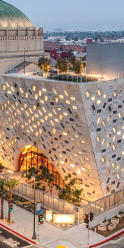 OMA's Audrey Irmas Pavilion is an adjunct to the Jewish Wilshire Boulevard Temple