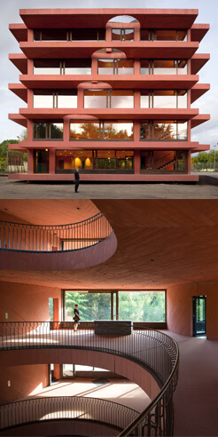 Pezo Von Ellrichshausen's INES Centre is a spatial vortex of circular volumes within