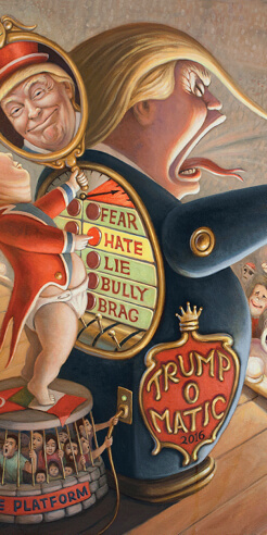 Political painter Mark Bryan and his vibrant, satirical work