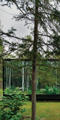 Reflection, the glamping twin cabins, reverberate the allure of Canadian forests