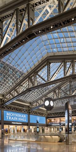 SOM's Moynihan Train Hall redefines rail travel for the Pennsylvania Station Complex