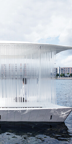 Copenhagen's canals turn into a reflective cultural playfield with Teahouse Ø