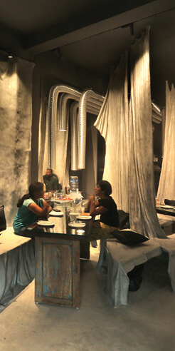 Tease Me Café, Kerala, by Wallmakers uses discarded cloth and concrete for its interiors