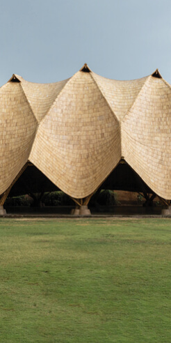 The Arc by IBUKU at Green School, Bali, is held by swathes of bamboo arches