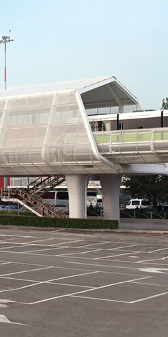 The 'People Mover' transit system's twin portals welcome travellers to Bologna, Italy