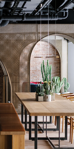 via. embeds a series of bronze arches in House of Madison in Hong Kong