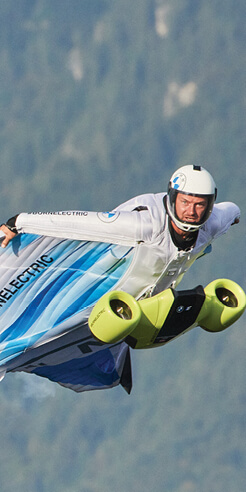 BMWi's Electrified Wingsuit takes maiden flight with Peter Salzmann