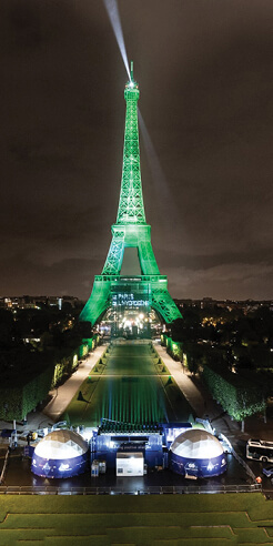 Eiffel Tower lit up in vivid hues by EODev's emissions-free electro-hydrogen generator