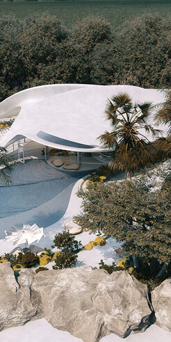 Mask Architects envisions an alabaster white, organic Villa G01 in Sardinia, Italy