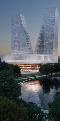 Snøhetta imagines twin glass towers for Duett Düsseldorf opera house in Germany