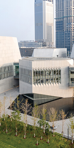 Tianjin Juilliard School by DS+R is an inwardly bridged monument for music
