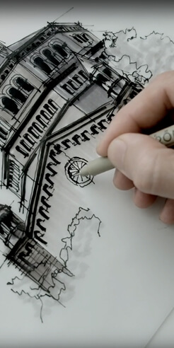 Sketching the Powell Library, Los Angeles – a drawing tutorial by Dan Hogman