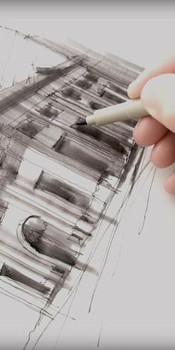 Sketching the Farmers and Merchants Bank, LA – a drawing tutorial by Dan Hogman