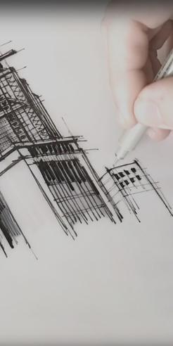 Sketching the HSBC building in Hong Kong – a drawing tutorial by Dan Hogman