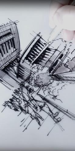 Sketching the Peak Tower, Hong Kong - a drawing tutorial by Dan Hogman