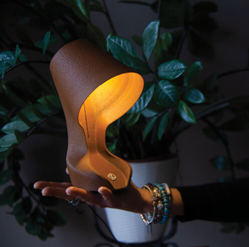 Ohmie Lamp by Krill Design is the world's first 3D printed lamp made of orange peels