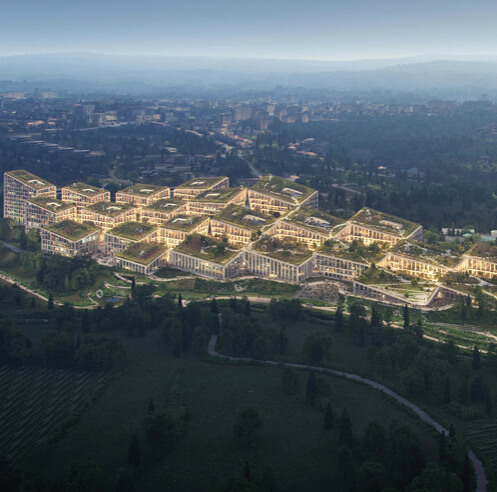 BIG-designed fashion village in Portugal reveals a manmade extension of the hillside