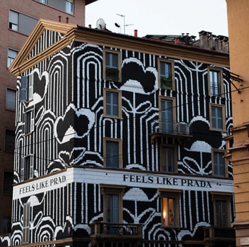 'Feels Like Prada' animates façades and objects with hypnotic geometric patterns