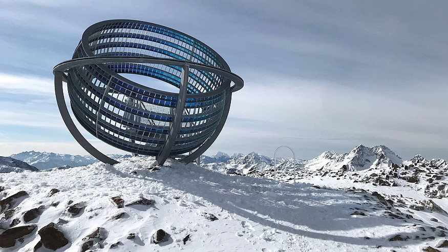 'Our Glacial Perspectives' by Olafur Eliasson is a solar installation on ice in Italy