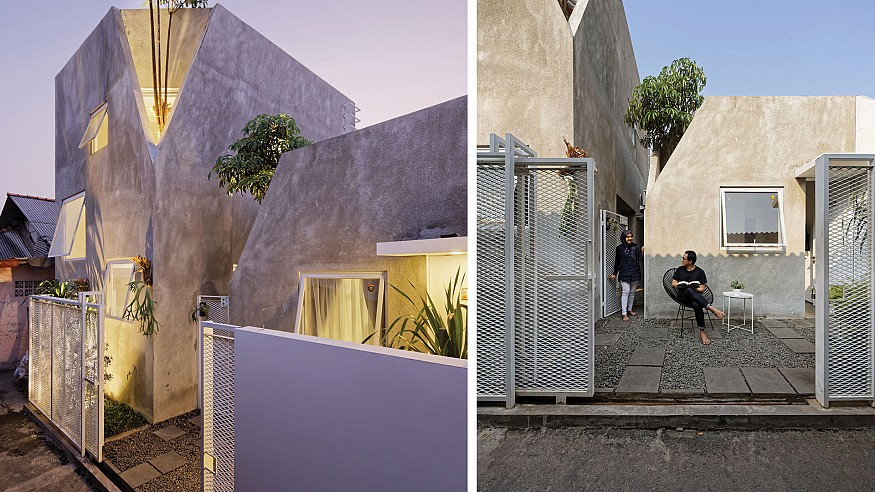 'The Twins' by DELUTION is a dual concrete volume tapered at the corners