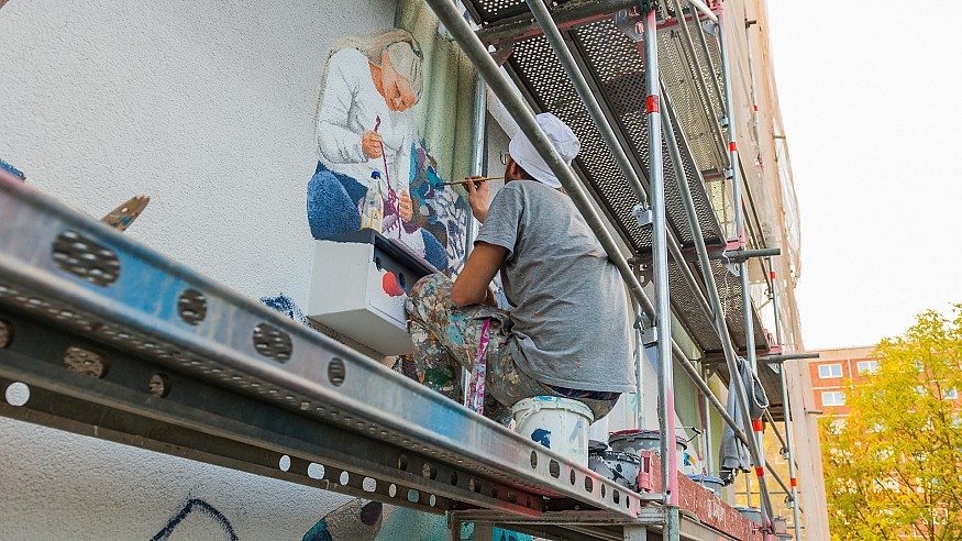 Colourful murals by Freiraumgalerie enliven buildings in German city of Halle