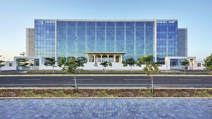 Civic building Auric Hall stands as the face of an upcoming city in India