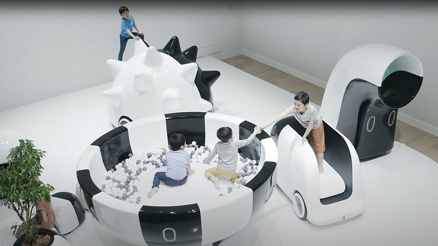 Coen cars by Nendo let children drive through parks and enjoy fascinating games