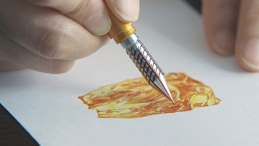 Drillog by Shion is a drill nibbed pen that holds ink in its spiral grooves