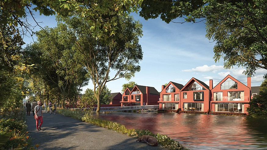 Baca Architects elevate residences above flood-risked site in Stratford, UK