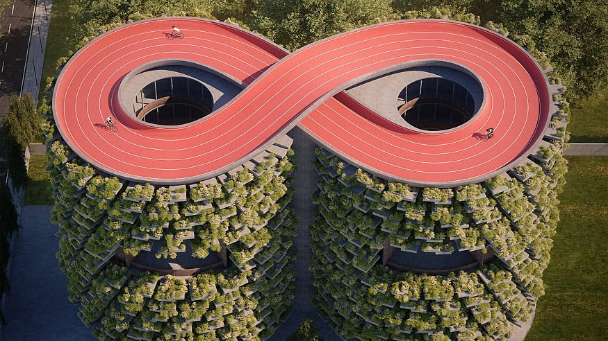 'Forest' school by NUDES in India has an infinity-shaped roof track and green skin