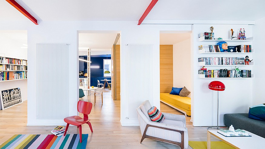 Gon Architects play with primary colours inside Sequence House in Madrid, Spain