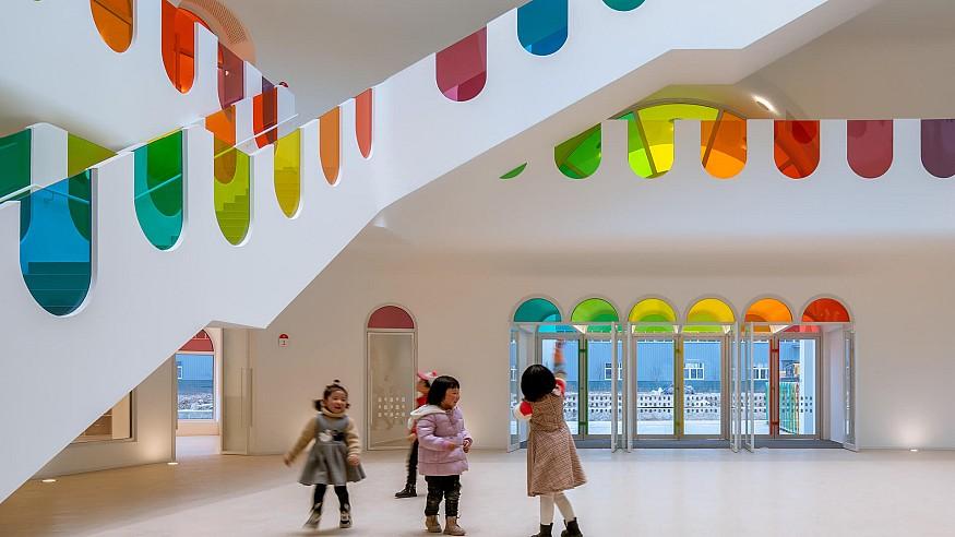SAKO Architects adorns Kaleidoscope kindergarten in China with colourful glass
