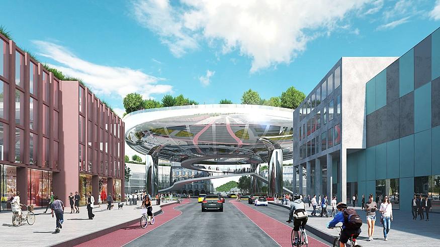 A floating garden highlights MVRDV's winning plan for Ettlinger Tor, Karlsruhe