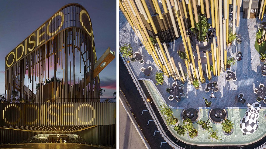 Odiseo Gastronomic and Leisure Center is an urban oasis evoking the Mediterranean