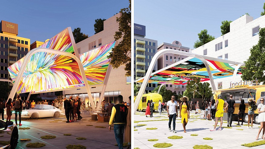 In Re-Charge LA, Woods Bagot imagines EV charging stations as future community hubs