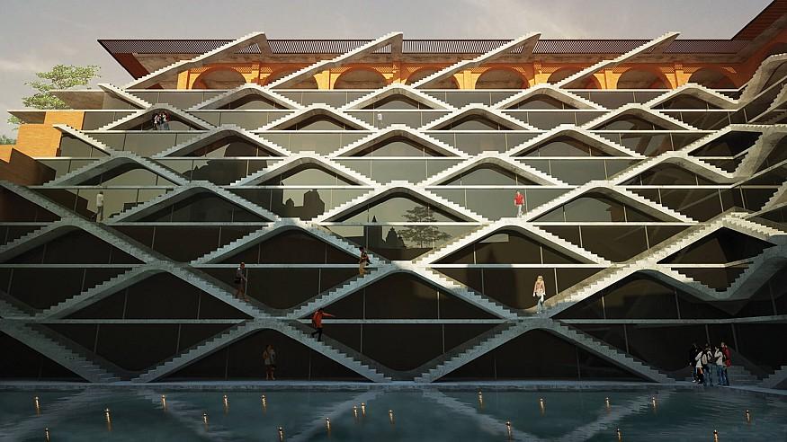 Spasm Design brings Rajasthani stepwells to an educational building in Mumbai