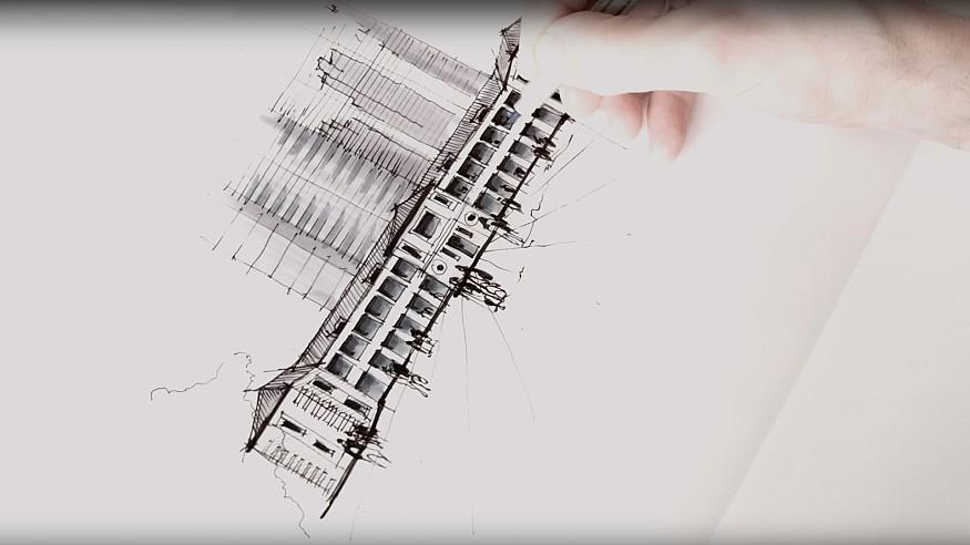 Sketching Tai Kwun, Hong Kong – a drawing tutorial by Dan Hogman