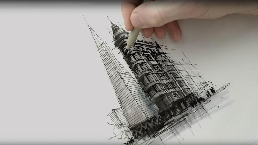 Sketching Transamerica Pyramid, Sentinel Building – a drawing tutorial by Dan Hogman