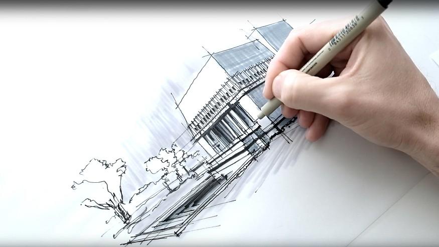 Sketching FLW's Hollyhock House - a drawing tutorial by Dan Hogman