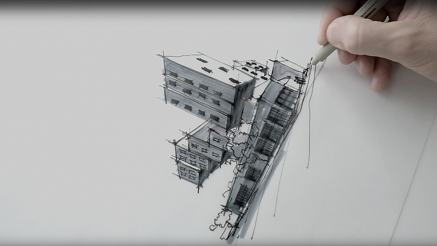 Sketching Star Apartments, Los Angeles – a drawing tutorial by Dan Hogman