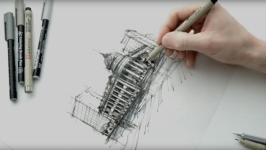 Sketching The Hibernia in San Francisco – a drawing tutorial by Dan Hogman